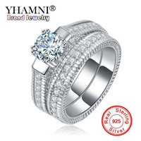 YHAMNI Fine Jewelry Natural Zirconia Diamond Ring Set para Mulheres Anel Vintage Real 925 Sterling Silver Rings Gift 2pcs / Set ZLR121