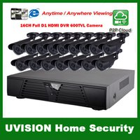 Wholesale 16ch Security Cctv - HDMI 16ch full D1 DVR Kit CCTV System 16pcs 600TVL Waterproof IR outdoor Cameras 16ch Security Camera system 16pcs 18m cctv cable