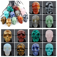 Pendant Necklaces carved stone skull - Jewelry Fashion Men Women s Natural Stone Carved Skull Pendant Necklace Gift MN533