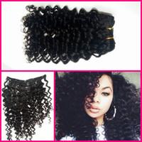 Wholesale Virgin Hair Deep Wave Clips - Virgin Remy Hair Clip In Human Hair Extensions Full head Set G-EASY deep wave deep curly 100% human hair fast shipping pls choose DHL