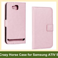 Wholesale Ativ S Leather - Wholesale Popular Crazy Horse Pattern PU Leather Flip Cover Case for Samsung ATIV S i8750 with Magnetic Snap Free Shipping