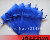 Wholesale Organza Bags 16x22cm - Free ship!!! 16x22cm 1000piece lot Royal Blue Wedding Christmas Organza Bags Gift Pouches