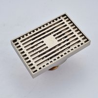 Wholesale Stainless Grille - Wholesale And Retail Free Shipping Square Floor Drainer Grille Bathroom Shower Grate Waste Bathroom Floor Filler Nickel Brushed