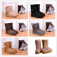 Wholesale Wool Lined Snow Boots - 2018 Hot Sale Australian classic genuine leather wool fur lined Ankle Boot suede women winter snow boots bailey bow navy brown Free shipping