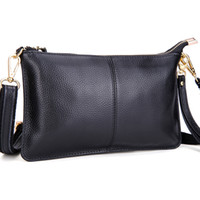 Wholesale Wholesale Navy Leather Handbag - Fashion evening bags handbags for women Genuine Leather mini clutch real leather solid clutches for women purses ladies handbags