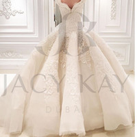 Wholesale Crystal Wedding Gown Online - Gorgeous Lace Ball Gown Wedding Dresses 2016 Bridal Gowns Ball Gown Spring Sweetheart New Wedding Gowns Online Custom Made