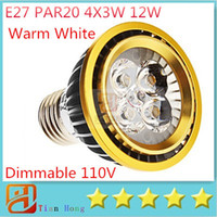 Wholesale Dimmable 4x3w - 5pcs lot Dimmable 110V-130V E27 PAR20 4X3W 12W Warm white led lamp Spotlight Energy Saving three years Warranty