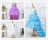 Wholesale South Korean Hot Models - 2016 Hot Style South Korean Children Dress Dress Lace Flower Princess Cake Skirt Dovetail Skirt Trailing Dress