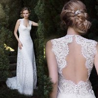 Wholesale Inexpensive Plus Size Wedding Dress - 2016 Bohemian Garden Wedding Dresses Sheath Lace Bridal Gowns Open Back Plus Size Empire Dress Illusion Lace Back Inexpensive Custom Made