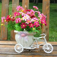 Wholesale Dining Table Flower Vases - Wholesale 4 color artificial flowers basket container wedding decor dining table flower decoration float storage rattan tricycle crafts vase