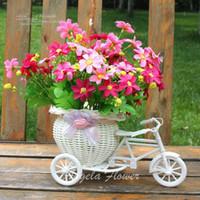 Wholesale Vase Craft Basket - Wholesale 4 color artificial flowers basket container wedding decor dining table flower decoration float storage rattan tricycle crafts vase