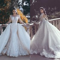 Wholesale red buttom - 2018 Latest Scoop Neck Mermaid Wedding Dresses Lace Buttom Back Long Sleeve Detachable Train Arabic Bridal Gowns Wedding Gowns