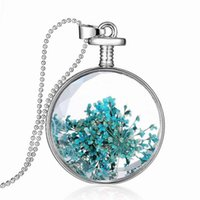 Wholesale 33mm Stainless Steel Chain - Glass Locket Necklace Floating Charms Locket Pendant Necklace Trees of Life Crystal Charms Stainless Steel Titanium 33mm YH-N-021