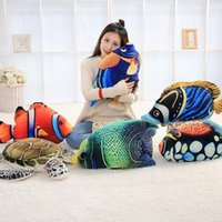 Wholesale turtles stuffed toys - 6 Styles 45cm Creative Big Simulated Sea Animal Fish Plush Toy 3D Realistic Stuffed Fishes Turtle Doll Kids Xmas Gifts CCA8259 30pcs