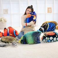 Wholesale Plush Sea - 6 Styles 45cm Creative Big Simulated Sea Animal Fish Plush Toy 3D Realistic Stuffed Fishes Turtle Doll Kids Xmas Gifts CCA8259 30pcs