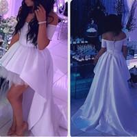 Wholesale High Low Designer Wedding Dress - Designer Middle East Country Wedding Dresses Off Shoulder Zipper Back Ruched Elastic Satin Ball Gowns High Low Wedding Dresses Bridal Gowns
