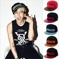 Wholesale Snapback Trendy - Fashion Trendy Ball Caps Snake Skin Pattern Flat Brim GDRAGON Letter Snapback Baseball Cap South Korea Unisex Hip Hop Haps 1pcs P039