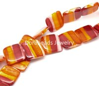 Wholesale Square Shell Beads - Free Shipping! 1 Strand Multicolor Square Candy-striped Shell Beads B17865 (B17865)