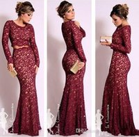 Wholesale Long Oscars Dress - Hot 2015 Lace Long Sleeves Burgundy Two pieces Evening Dresses Oscar Celebrity Dresses Mermaid Scoop Neck Vintage Prom Formal Gowns GD-621