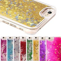 Glitter Bling Estrellas Dinámica Liquid PC Clear Crystal Case Contraportada para iPhone 7 5S 6 6S más Galaxy S5 S6 S7 EDGE Nota 3 4 5