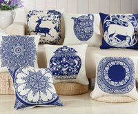 Wholesale Blue White Porcelain Pillow - Wholesale- Decorative Cotton Coussin Couvrir White Blue Chinese Porcelain Deer Pillows Covers 45X45cm Bed Home Throw Pillow Case Cover B106