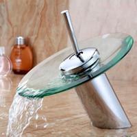 banyo muslukları krom toptan satış-Banyo şelale Musluk Krom Finish Havzası Evye Bataryası Mikser Dokunun Şelale Musluk. Banyo lavabo bataryası