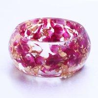 Wholesale Copper Flakes - New Resin Bangles Rose Petal and Gold Flake Inside Bracelets for Women Love Bracelet Handmade Pulseiras for Girlfriend Gift
