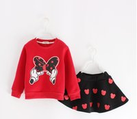 Wholesale Spring Bow Coat - New Autumn Girls lovely Bow Sweatshirts+ Mickey hollow skirt 2 pcs Sets children clothes free shipping