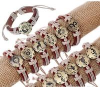 Wholesale Urban Jewelry Wholesale - New arrivals from Hallow out Cross Urban Jewelry Charm Bracelet checking Genuine Leather Wristband retro 12 zodiac Jewelry