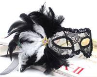 Wholesale Translucent Cloth - Venetian-style mask feather flower glitter ball translucent gauze cloth sides feather masks