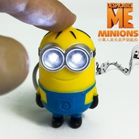 Wholesale Despicable I - Top Sale Carton Despicable Me 3D Mini Minion Keychain With Sound I LOVE YOU And Light Key Chain Key Ring For Lovers Gift By DHL