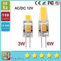 Wholesale 12v Ac Bulb Edison Led - Dimmable G4 LED 12V AC DC COB Light 3W 6W High Quality LED G4 COB Lamp Bulb CE