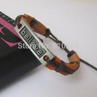 Wholesale Indian Weave Wholesale Jewelry - Free shipping hot selling leather Blck Gun Believe Bracelet retro bracelets believe charm man men jewelry woven HC0001