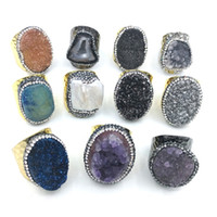 anillos de piedra amatista al por mayor-JLN ágata anillo de cuarzo ajustable amatista natural ágata agua dulce perla tamaño libre anillo de pareja de piedra natural regalo para hombre mujer