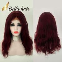 peluca atada a mano larga al por mayor-Festival de navidad Color rojo Peluca de cabello humano chino largo natural Liso atado a mano Hermosa peluca llena de encaje Julienchina Bella personalizada