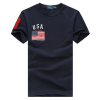 Wholesale Red White Blue Striped Flag - High quality cotton new O-neck short sleeve t-shirt brand men T-shirts casual Flag for sport men polo T-shirt