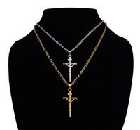 Wholesale Copper Crucifix - Top sale high quality low price real 18k gold plated jesus cross pendant necklace religious jewelry crucifix necklace