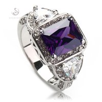Wholesale Vintage Amethyst Silver Ring - Pink Amethyst Cubic Zirconia cute Classic fashion Silver Plated ring R379 sz#6 7 8 Vintage Promotion Favourite Best Sellers