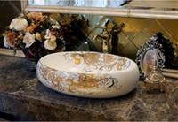 kunstbadezimmer sinkt großhandel-Bad Superior Keramik Aufsatzwaschbecken Oval Waschbecken Porzellan Handgemalte Garderobe Kunst Schiff Waschbecken jy-002