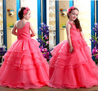 Wholesale Girls Sleeveless One Shoulder Shirt - One Shoulder flower girl dress A-Line Tiered Skirt With Beading Body Floor-Length Organza Cheap Girl Pageant Gown zahy872