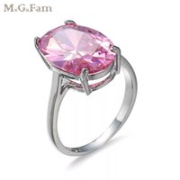 Jóvenes Mujeres Blancas Baratos-MGFam (170R) Big Single CZ Sweet Pink Rings para mujeres jóvenes Nuevo 2018 Spring Europe Hot Sale White Gold color AAA + Cubic Zircon