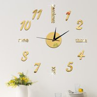 Wholesale Mirrored Acrylic Letters - 2016 DIY Clock Hot Mirror Sticker 3D Acrylic Wall Stickers Home Decor Europe Large Poster Kitchen House Letter Christmas Wall Clock