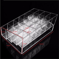 Wholesale Wholesale Acrylic Cosmetic Display Stand - 24 Lattice Trapezoid Lipstick Holder Display Stand Clear Acrylic Cosmetic Organizer Makeup Case Sundry Storage Box Case
