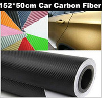 Venta al por mayor 152 * 50CM impermeable DIY etiqueta engomada del coche Car Styling 3D 3M del carbón del coche vinilo de la fibra Wrapping Film 100PCS / lot 1027 # 27
