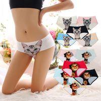 Wholesale Cute Underwear For Women - Ladies Underwear Cute 3D Cat Panties Sexy Mid Waist Underwear Comfort Briefs Animal Panties For Women Nylon Panties Gifts