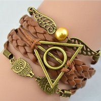 Vente en gros à chaud nouvelles mode Antique Bronze Harry Potter Magic Hallows Harry Potter de Bracelet Bracelets Owl aile Bracelet en gros