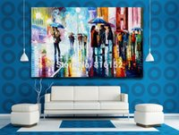 One Panel painting street scenes - Palette Knife Oil Painting Walking at Rainy Street Scene of Life Painting Printed on Canvas Mural Art for Home Living Office Wall Decoration