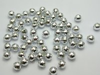 Wholesale Disco Ball Tone - 1000 Silver Tone Faceted Round Plastic Spacer Beads 8mm Disco Ball
