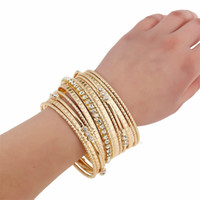 Wholesale Wholesale Fashion Jewelry Rhinestone Bangles - New Women Gold Bangle Jewelry Fashion Personality Multi Layer Rhinestone Bracelet High Quality For Wholesale Free Shipping