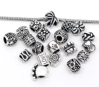 Wholesale harm bracelet pictures Random Mixed European Fashion Multi shape Charm Beads For DIY Bracelet Jewelry Making Antique Silver Spacer